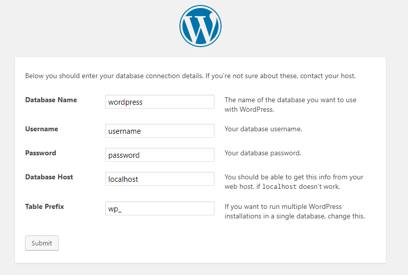 detail form to install WordPress