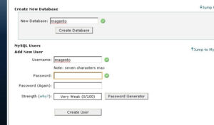 create database and user