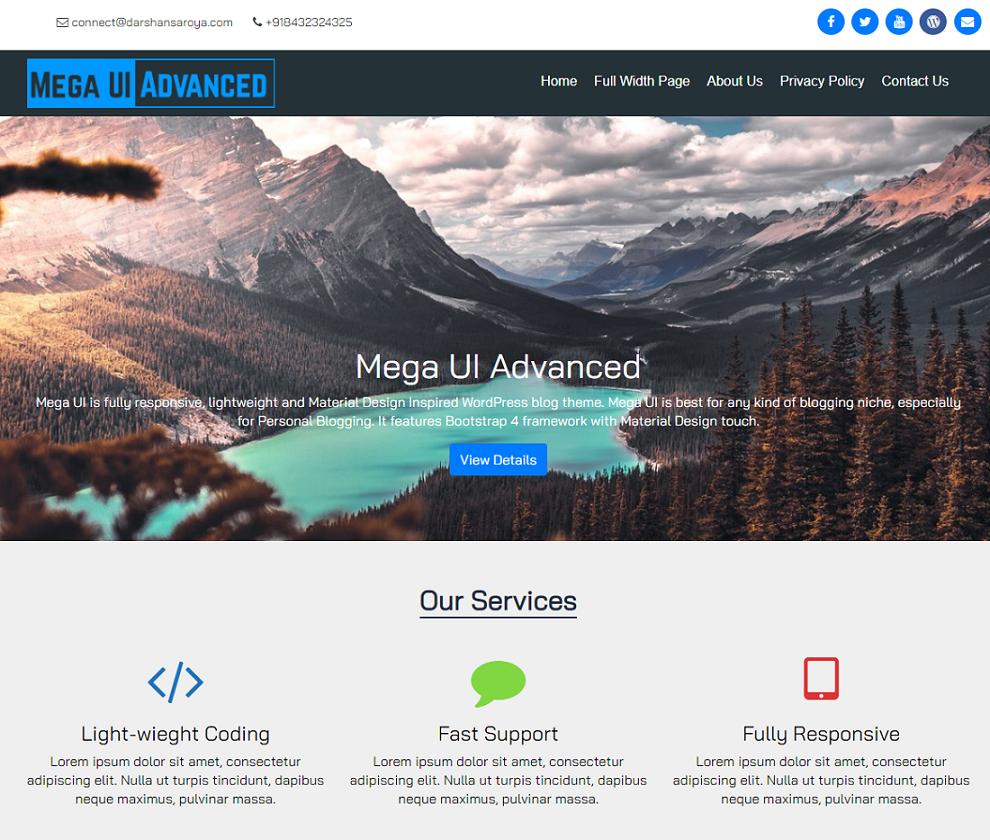 Mega UI Advanced WordPress Theme Free