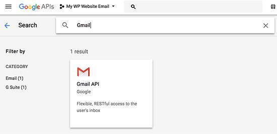 Google API select gmail api