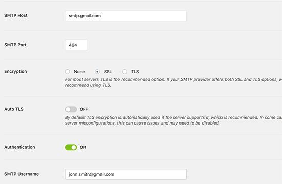 Settings SMTP mail plugin